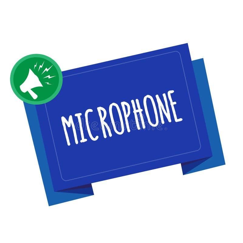 Écriture conceptuelle de main montrant le microphone L'instrument des textes de photo d'affaires pour convertir le bruit salue so illustration libre de droits