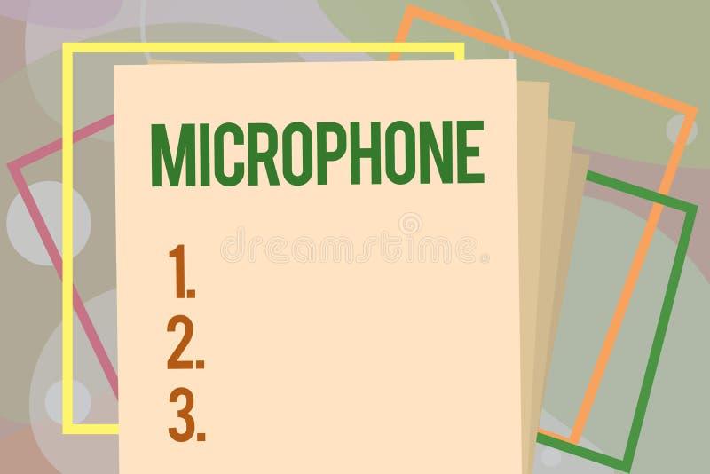 Écriture conceptuelle de main montrant le microphone L'instrument des textes de photo d'affaires pour convertir le bruit salue so illustration de vecteur