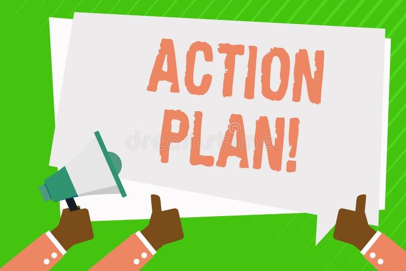 Écriture conceptuelle de main montrant le plan d'action Photo d'affaires présentant la stratégie ou la ligne de conduite proposée illustration de vecteur
