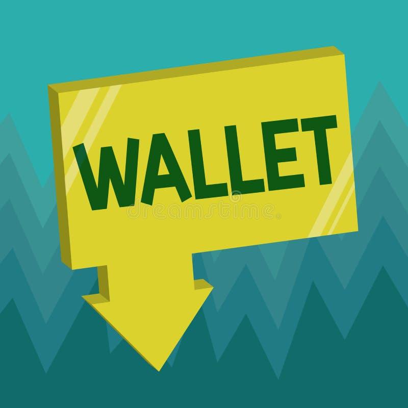 Écriture conceptuelle de main montrant le portefeuille Photo d'affaires présentant le point de droit se pliant plat de poche pour illustration de vecteur