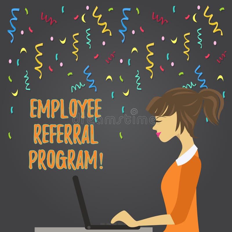 Écriture conceptuelle de main montrant le programme de référence des employés La présentation de photo d'affaires recommandent la illustration libre de droits