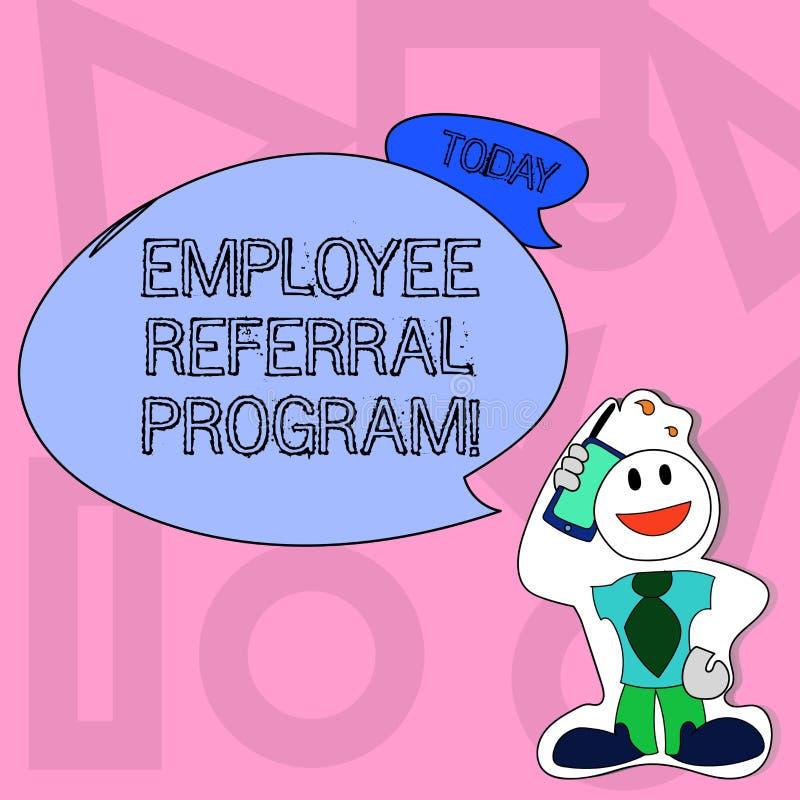 Écriture conceptuelle de main montrant le programme de référence des employés Le texte de photo d'affaires recommandent la bonne  illustration libre de droits