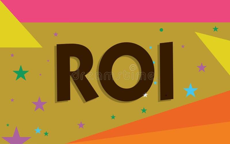 Écriture conceptuelle de main montrant le ROI La mesure de représentation des textes de photo d'affaires évaluait l'efficacité de illustration de vecteur