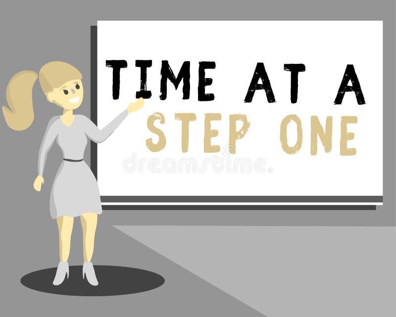 Écriture conceptuelle de main montrant le temps à une étape une Étapes progressives soigneuses d'étape importante des textes de p illustration de vecteur