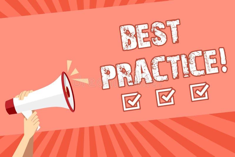 Écriture conceptuelle de main montrant les pratiques La présentation de photo d'affaires améliorent des solutions de qualité de s illustration libre de droits
