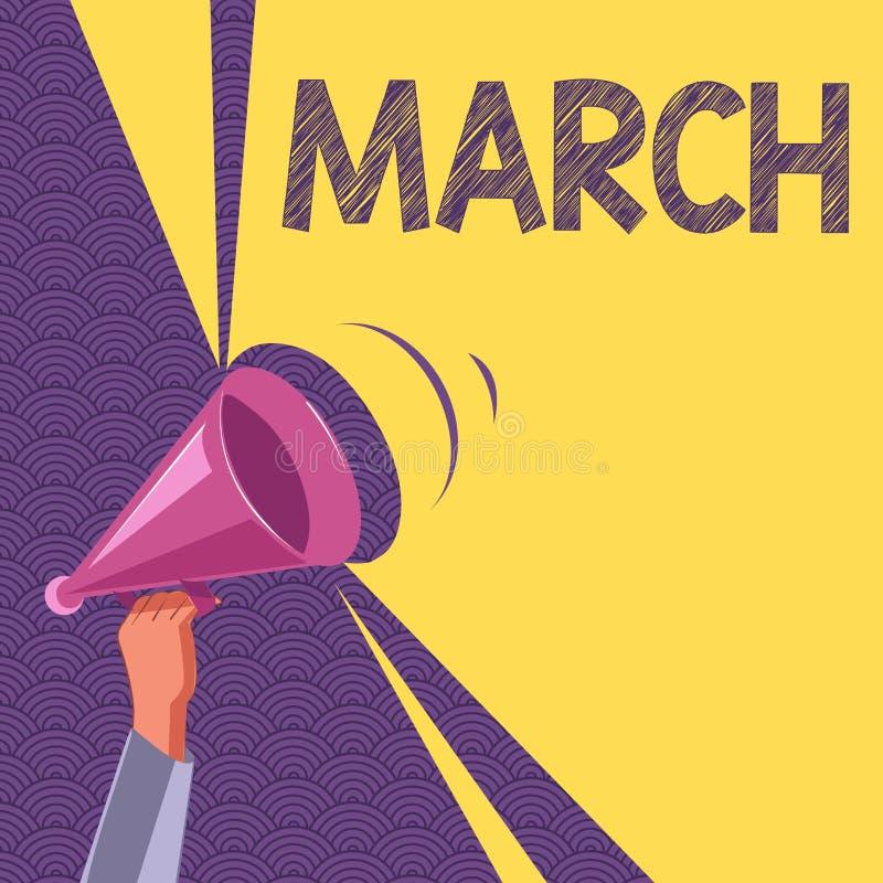 Écriture conceptuelle de main montrant mars Année de mois des textes de photo d'affaires troisième où le ressort commence la prom illustration libre de droits