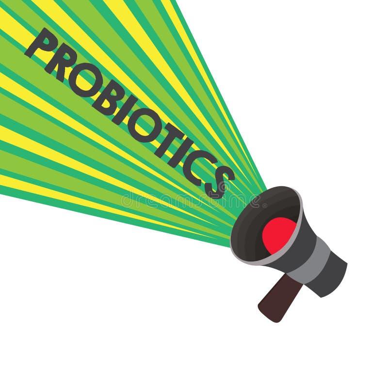 Écriture conceptuelle de main montrant Probiotics Micro-organisme vivant de bactéries des textes de photo d'affaires accueilli da illustration stock