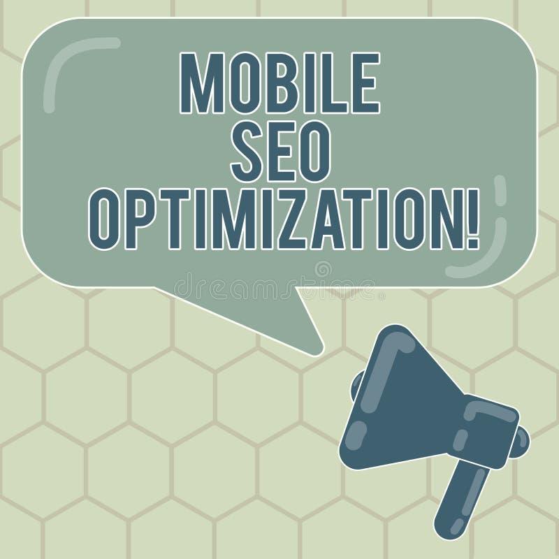 Écriture conceptuelle de main montrant Seo Optimization mobile Le texte de photo d'affaires permet à un site Web de se ranger pou illustration libre de droits