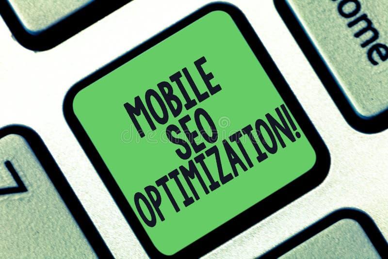 Écriture conceptuelle de main montrant Seo Optimization mobile Le texte de photo d'affaires permet à un site Web de se ranger pou illustration de vecteur