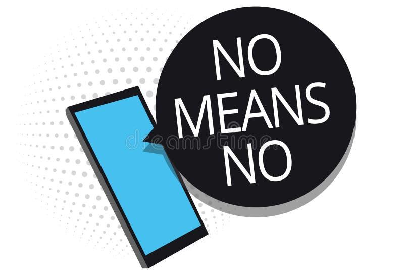 Écriture conceptuelle de main ne montrant aucun moyen aucun Harassm sexuel de présentation de réponse négative de violence de gen illustration stock