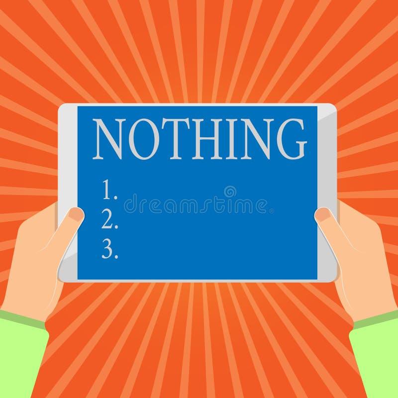 Écriture conceptuelle de main ne montrant rien Photo d'affaires présentant pas n'importe quoi aucune absence de chose ou de valeu illustration de vecteur