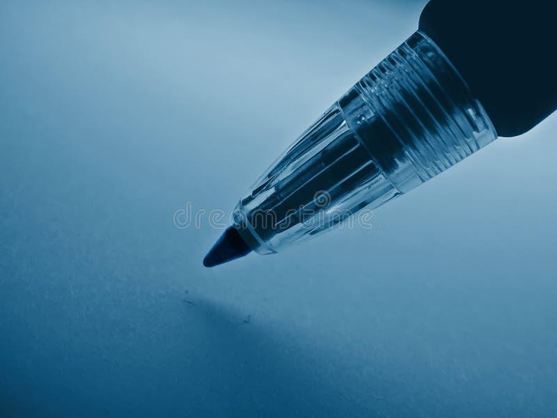 Écriture : crayon lecteur bleu image stock