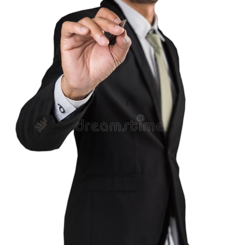 Écriture d'homme d'affaires, écran vide de dessin images stock