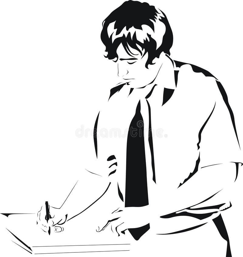 Écriture d'homme d'affaires sur le papier illustration stock