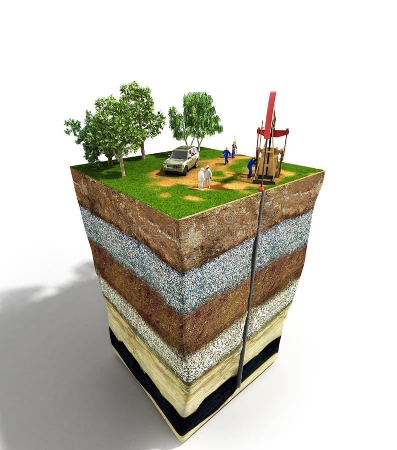 Écriture d'ingénieur de concept d'exploration de forage de pétrole sur le papier i illustration de vecteur