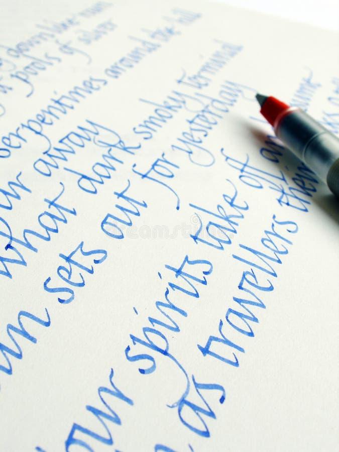 Écriture dans le type de calligraphie image stock
