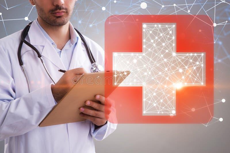Écriture de docteur d'homme, signe rouge de premiers secours illustration de vecteur