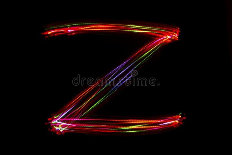 Écriture de ` du ` Z de Word de lumière image libre de droits