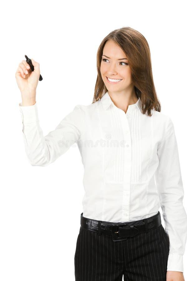 Écriture de femme d'affaires, sur le blanc images libres de droits