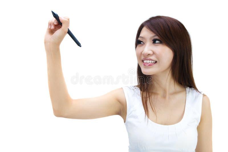 Écriture de jeune femme photos libres de droits