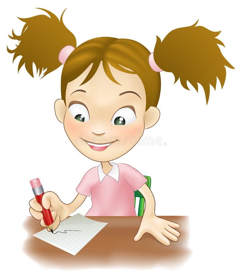 Écriture de jeune fille à son bureau illustration de vecteur