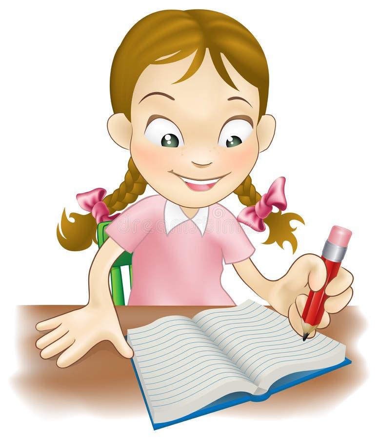 Écriture de jeune fille dans un livre illustration de vecteur