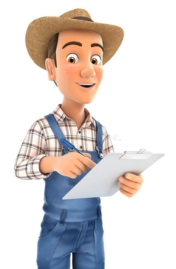 écriture de l'agriculteur 3d sur le bloc-notes illustration stock