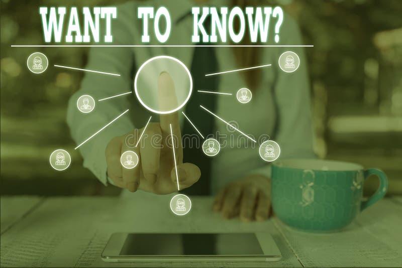 Écriture de mots texte à savoir Question Concept d'entreprise pour la demande d'information Demander aux gens de se poser des que photographie stock