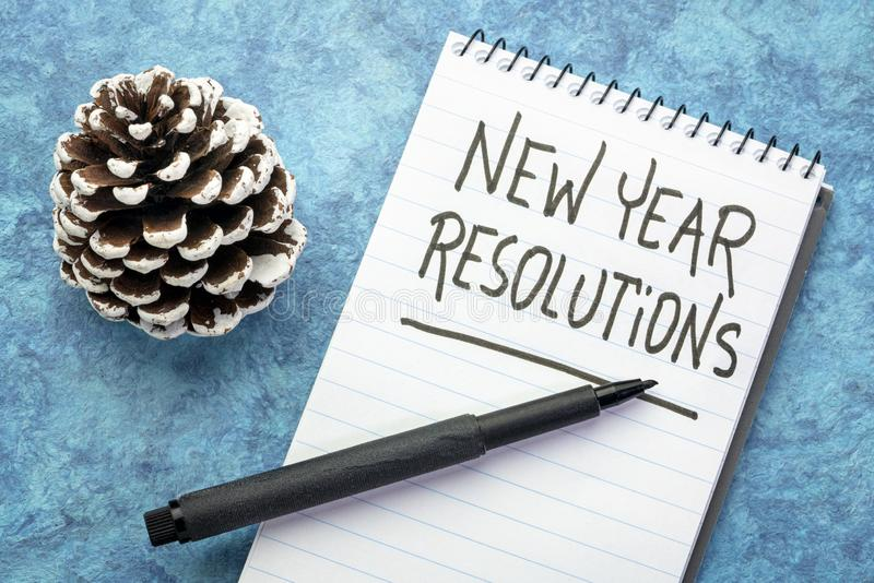 Écriture de résolutions de nouvelle année image stock