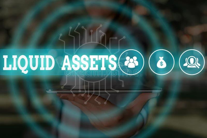 Écriture de texte Actifs liquides Concept d'entreprise pour l'encaisse et les soldes bancaires Liquidité du marché Stock différé  image stock
