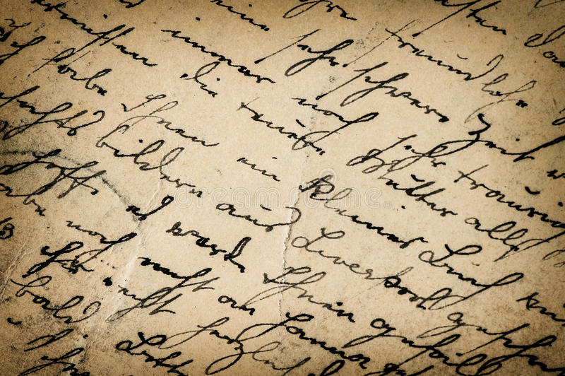 Écriture de vintage manuscrit antique Fond de papier photo libre de droits