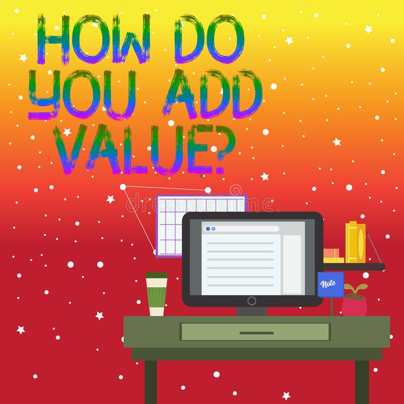 Écriture des textes d'écriture comment vous ajoutez la question de valeur La signification de concept améliorent le processus de  illustration de vecteur