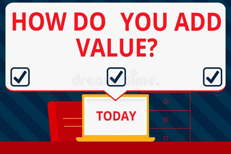 Écriture des textes d'écriture comment vous ajoutez la question de valeur La signification de concept améliorent le processus de  illustration stock