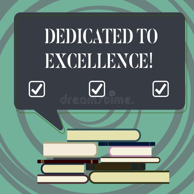 Écriture des textes d'écriture consacrée à l'excellence Concept signifiant un engagement ou une promesse de faire quelque chose p illustration stock