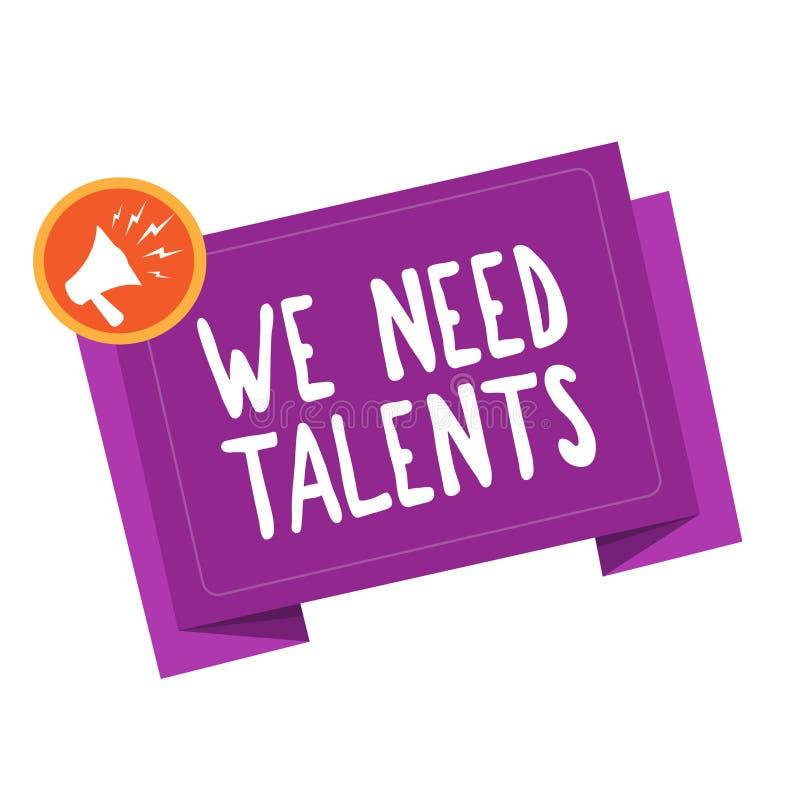 Écriture des textes d'écriture nous avons besoin de talents Le concept signifiant le nouveau recrutement faisant des entrevues ch illustration libre de droits