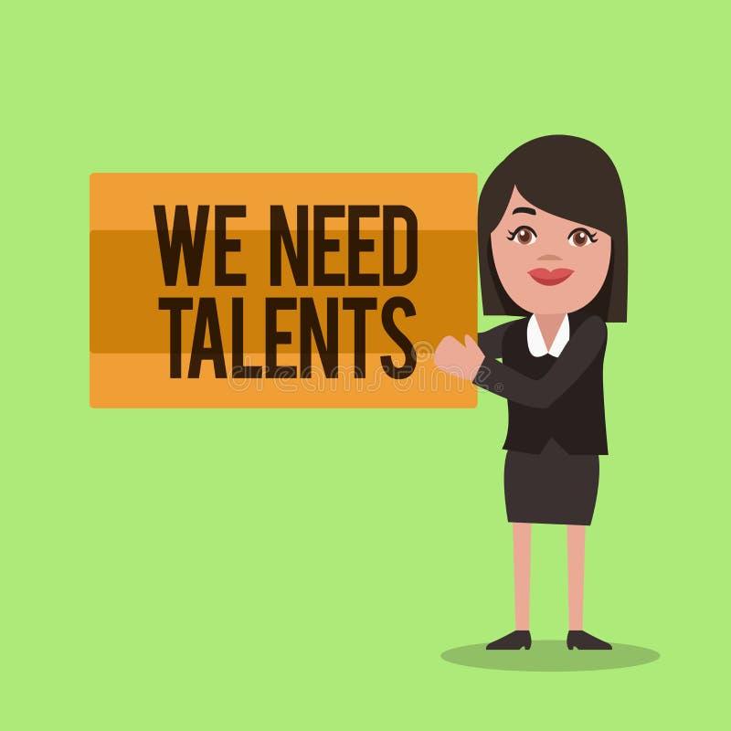 Écriture des textes d'écriture nous avons besoin de talents Le concept signifiant le nouveau recrutement faisant des entrevues ch illustration de vecteur