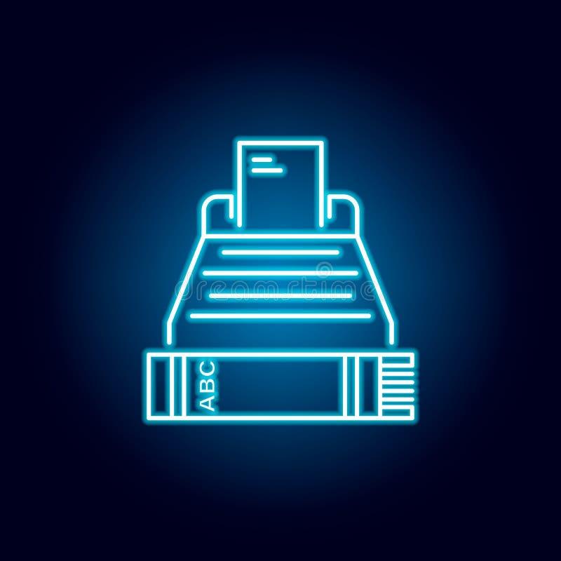 écriture, feuille, machine à écrire, icône d'ensemble de page dans le style au néon éléments de ligne icône d'illustration d'éduc illustration libre de droits
