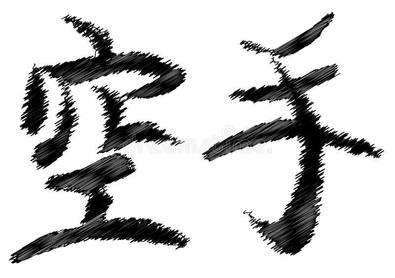 Écriture japonaise de karaté illustration libre de droits