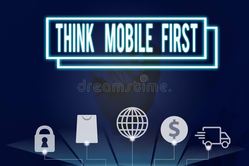 Écriture manuscrite conceptuelle montrant Think Mobile First Business photo text Easy Handheld Device Accessible Contenu 24 ou 7 images stock