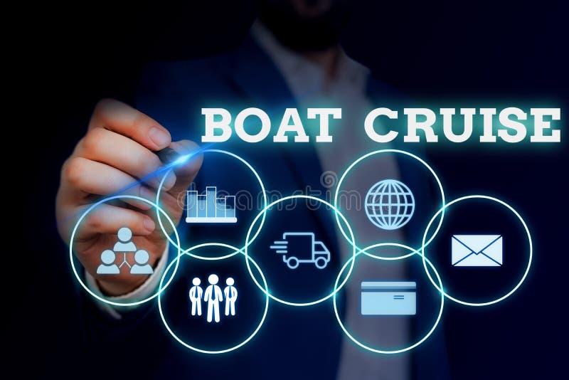 Écriture manuscrite de texte Boat Cruise. Concept signifiant voile sur une zone sans destination précise avec un grand navire illustration de vecteur