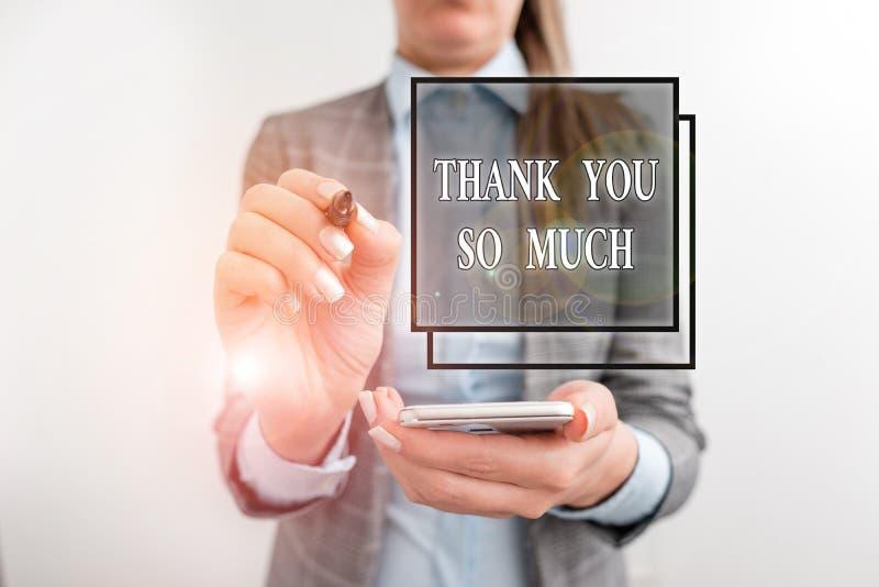 Écriture manuscrite de texte Merci beaucoup Concept signifiant Expression de gratitude Salutations d'appréciation Business images libres de droits