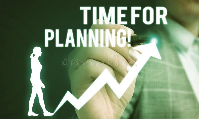 Écriture manuscrite de texte Temps de planification. Concept signifiant exercer un contrôle conscient sur des activités spécif images stock