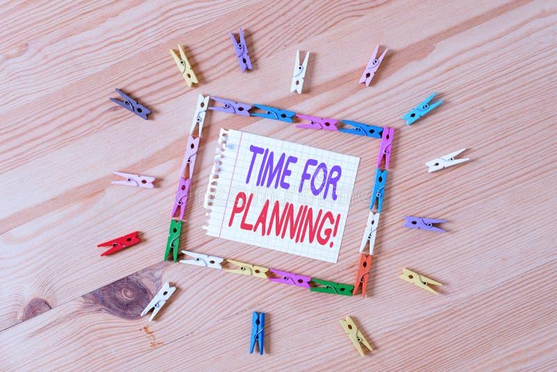 Écriture manuscrite de texte Temps de planification. Concept signifiant exercer un contrôle conscient sur des activités spécif images libres de droits