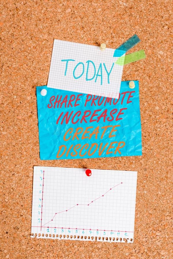 Écriture manuscrite Texte Partager Promouvoir Augmenter Créer Découvrir Concept signifiant motivation d'inspiration marketing Cor images stock