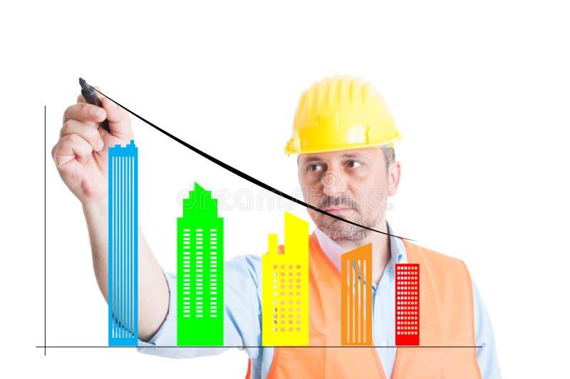 Écriture masculine d'ingénieur sur l'écran avec des bâtiments image stock
