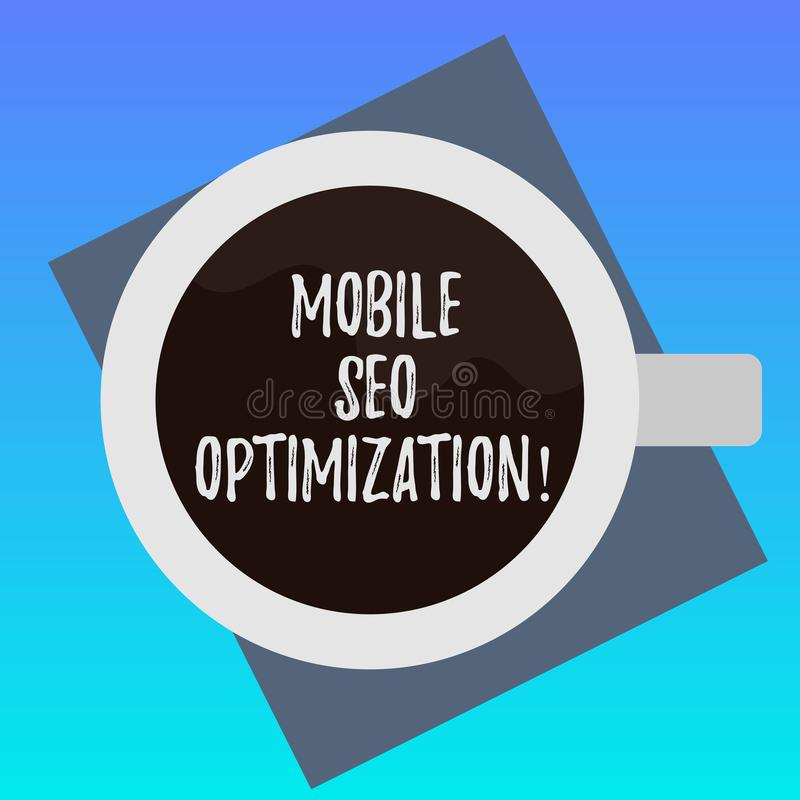 Écriture Seo Optimization mobile des textes d'écriture La signification de concept permet à un site Web de se ranger pour la vue  illustration stock