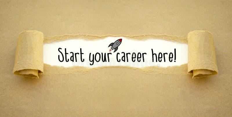 Écritures avec la fusée et commencer votre carrière ici photos stock