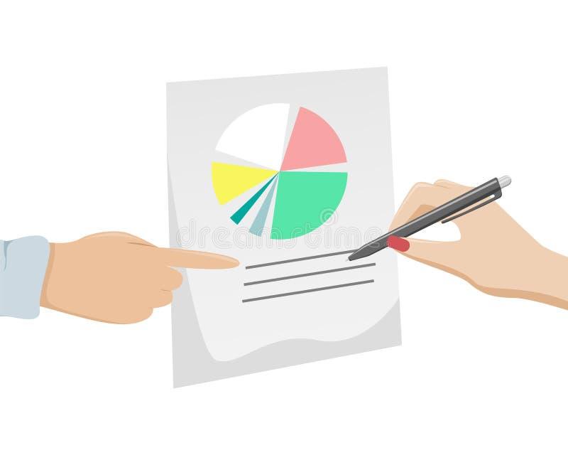 Écritures, déclaration d'impôt, questionnaire La main d'une femme avec une manucure rouge signe le document illustration stock