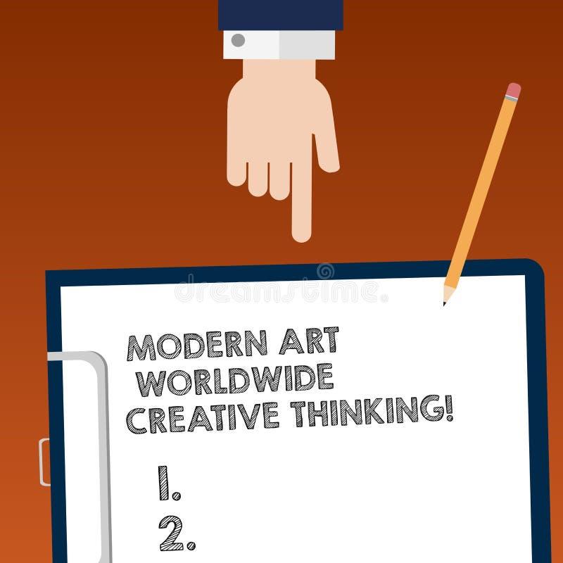 Écrivant à apparence de note Art Worldwide Creative Thinking moderne Analyse artistique de présentation de HU d'expressions de cr illustration de vecteur