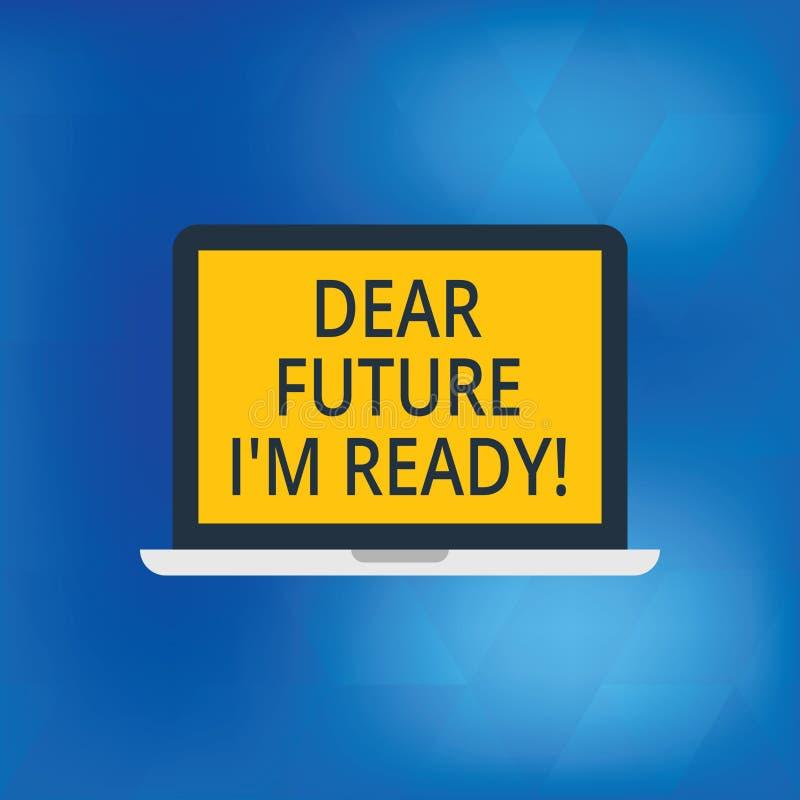 Écrivant à apparence de note cher futur je M Ready La présentation de photo d'affaires soit préparée pour de prochains événements illustration stock